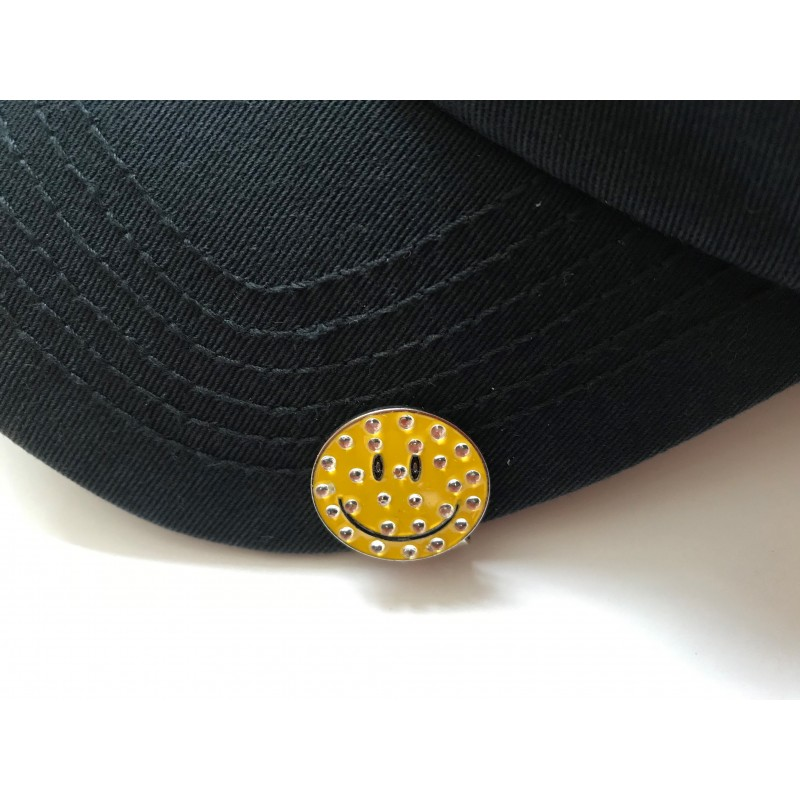 Golf Ball Marker Visor Hat Clip Yellow Smiley