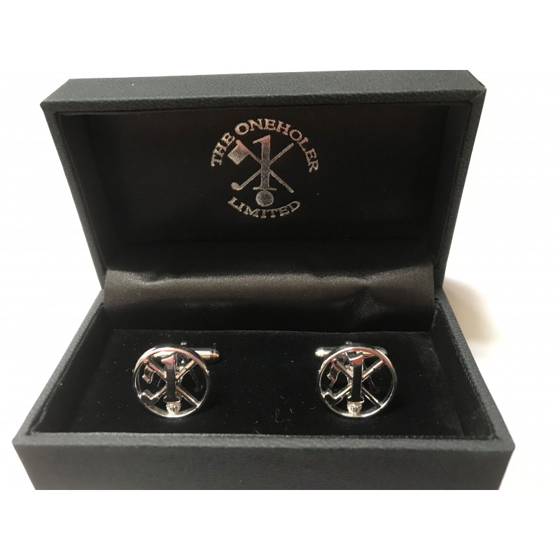 Hole in One/Oneholer Silver Golf Cufflinks