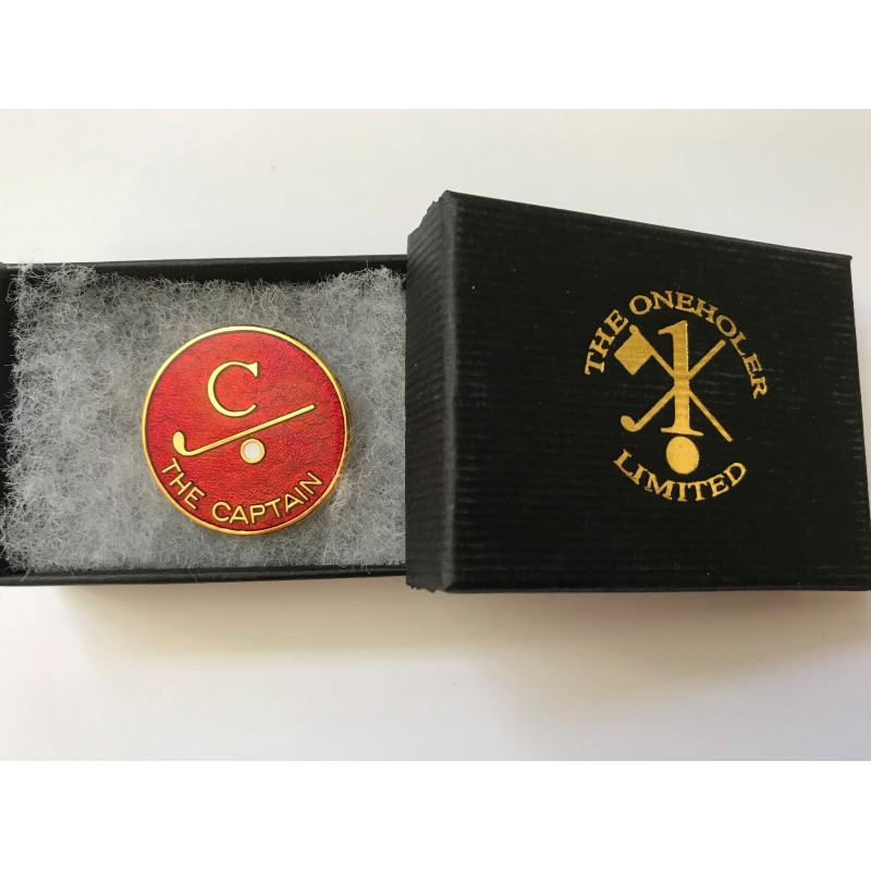 Captain Golfer Enamel Lapel Badge Red