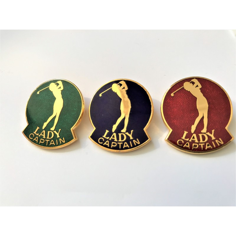 Lady Captain Golfer Lapel Badge Red