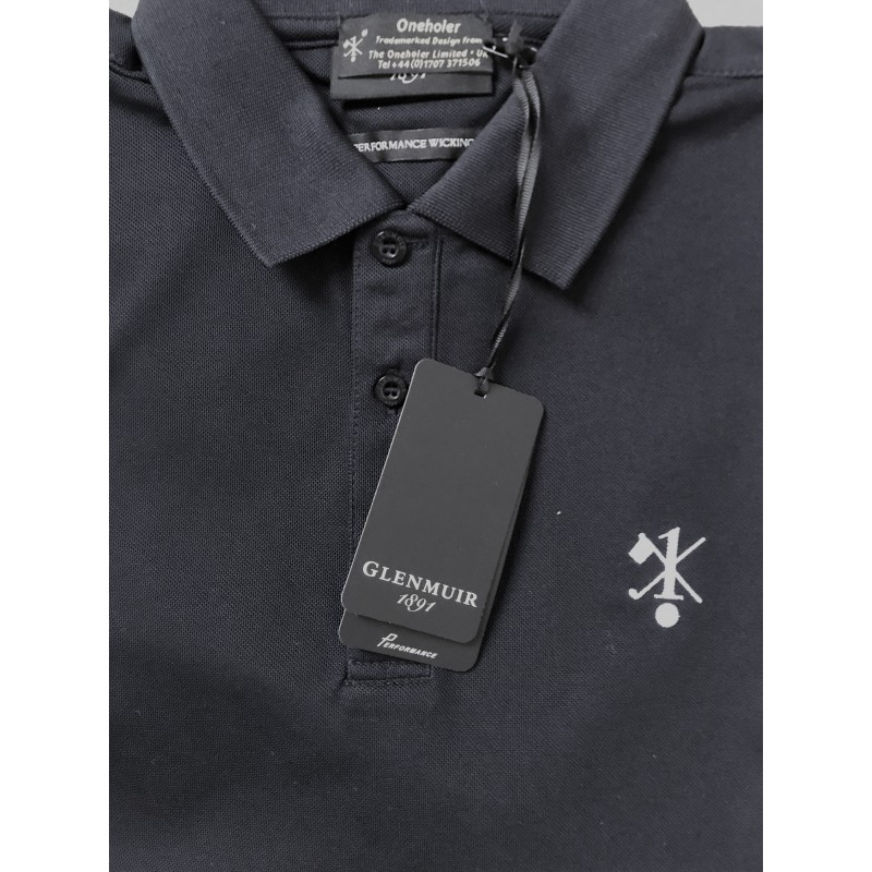 Hole In One/Oneholer Glenmuir Mens Polo Shirt Performance Wicking Navy with White Motif