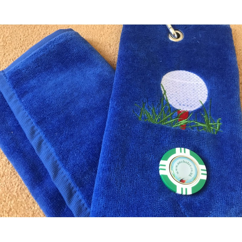 Golf Bag Towel for all Golfers Electric Blue and Vegas Poker Chip Ball Marker Green