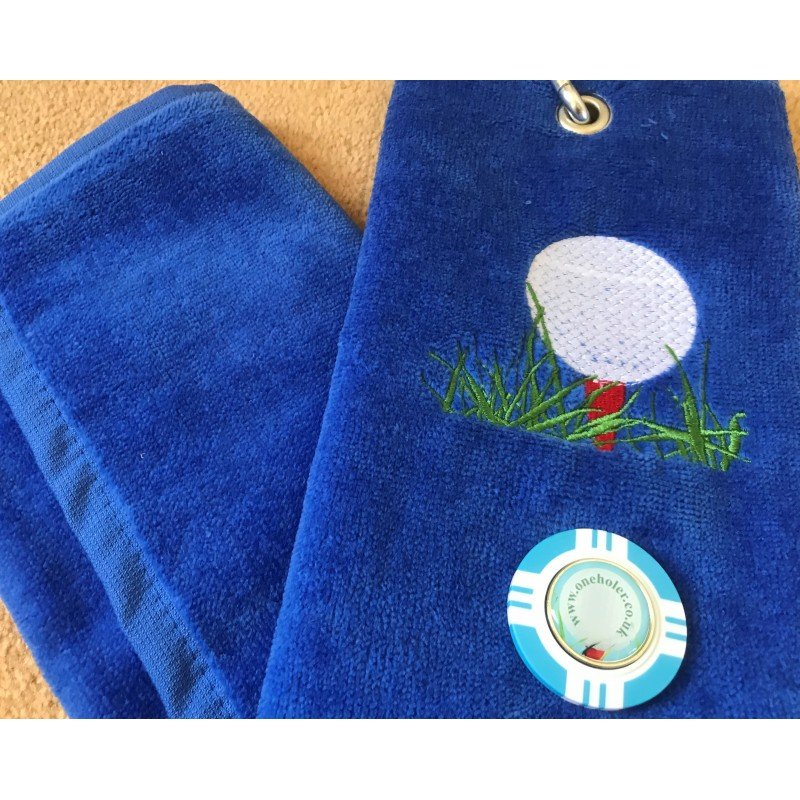 Golf Bag Towel for all Golfers Electric Blue and Vegas Poker Chip Ball Marker Light Blue