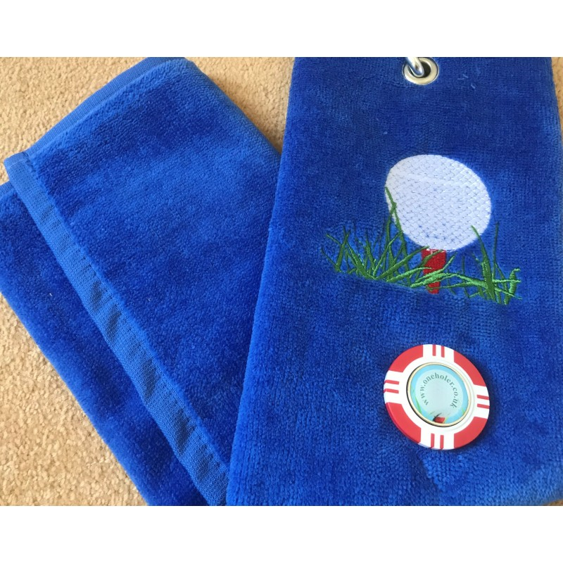 Golf Bag Towel for all Golfers Electric Blue and Vegas Poker Chip Ball Marker Red