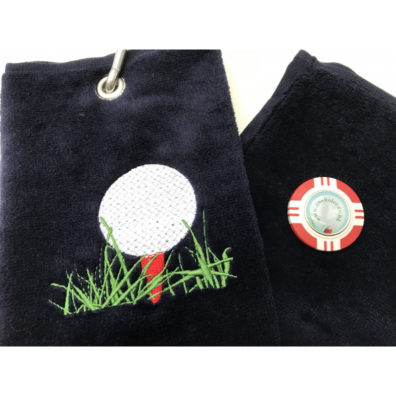Golf Bag Towel for all Golfers Navy Blue and Vegas Poker Chip Ball Marker Red