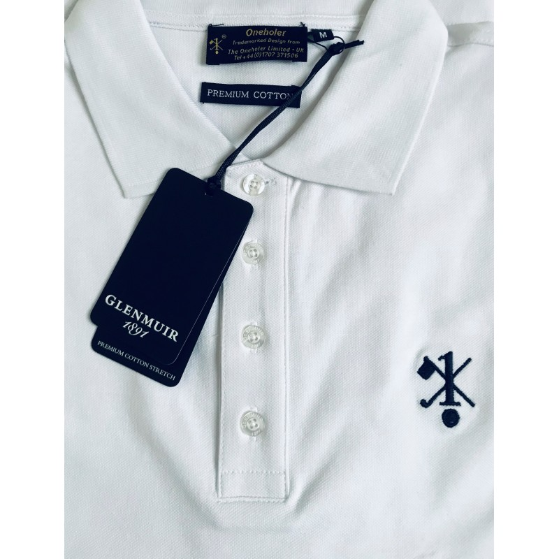 Hole In One/Oneholer Glenmuir Mens Polo Shirt Premium Cotton White with Navy Motif