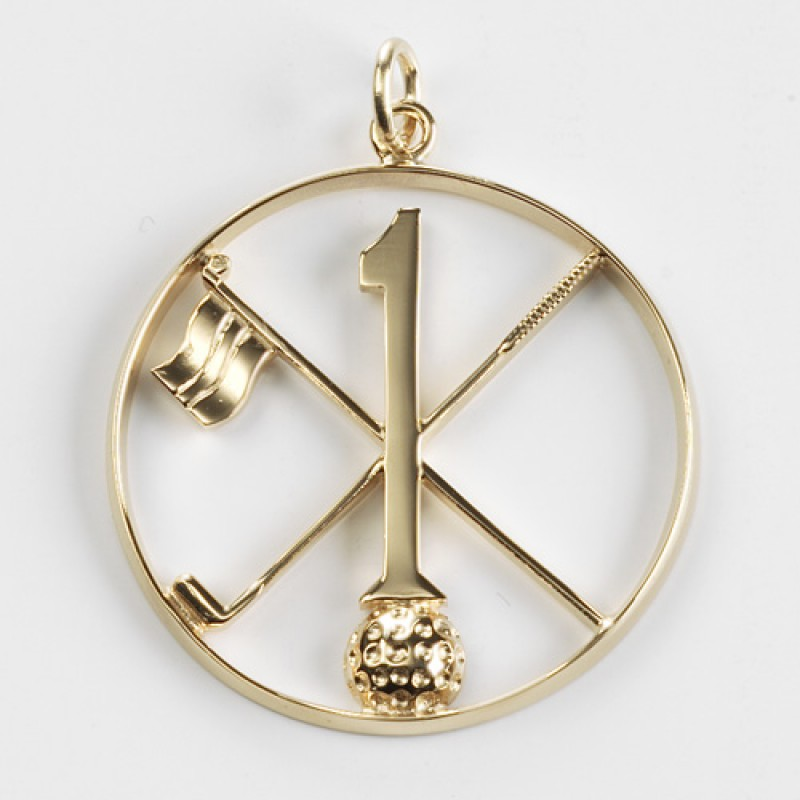 Hole in oneoneholer gold golf pendant aloadofball Choice Image