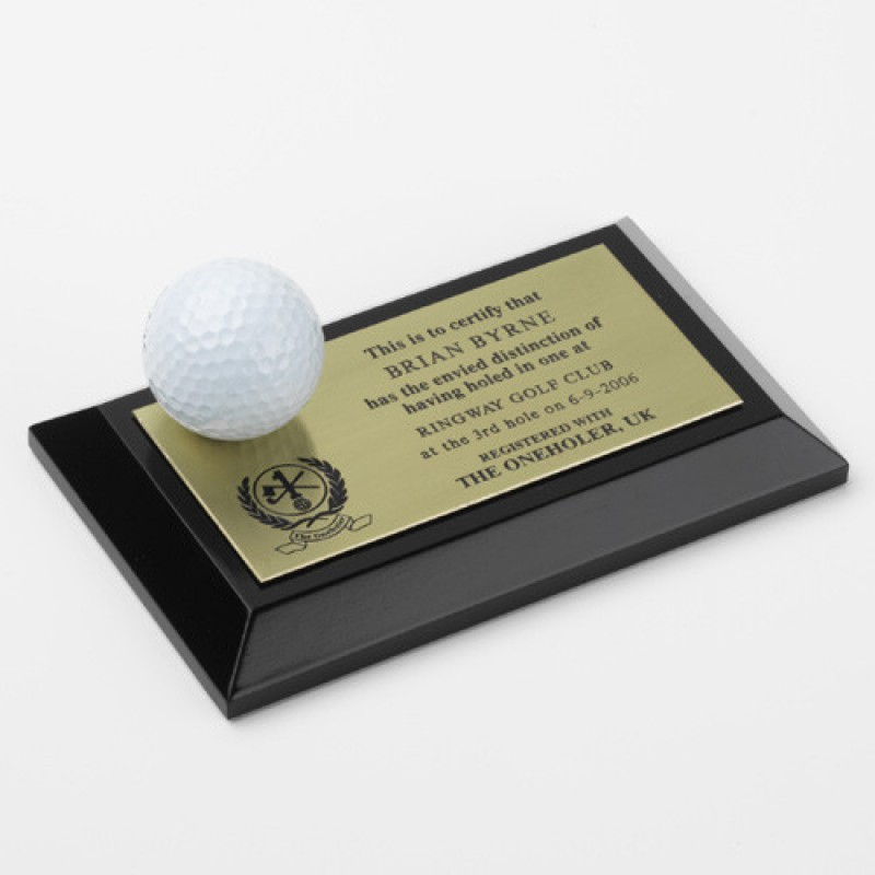 Hole in one oneholer golf ball trophy