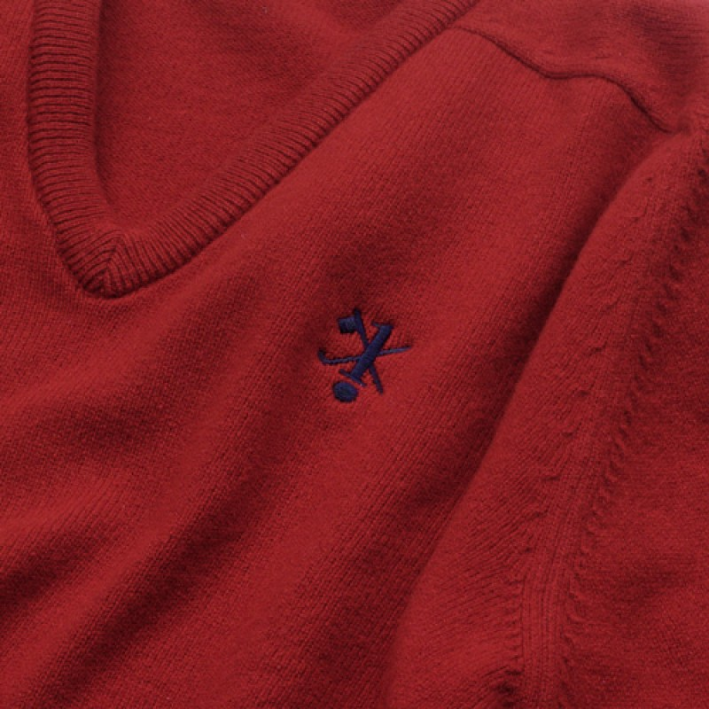 Hole in One/Oneholer Sweater Red V Neck